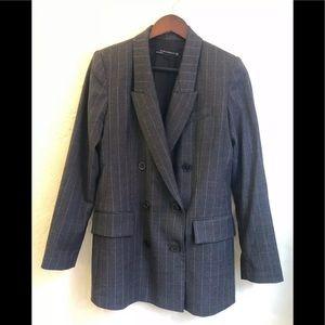 Zara charcoal double breasted pinstripe blazer S